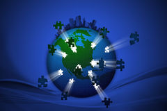 Lighting of World Jigsaw Stock Photography