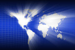 Lighting of the world map wallpaper Stock Images