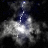 Lightings and thunders. In a black sky Royalty Free Stock Image