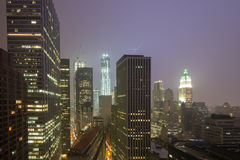 Lightining in New York Skyline on a Foggy Night Royalty Free Stock Image