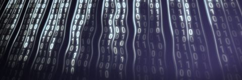 Lightly binary code on black background royalty free stock photo