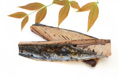 Lightly roasted bonito  with leaf. Pictured lightly roasted bonito with leaf Royalty Free Stock Images