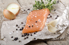 Lightly smoked irish salmon fillet Royalty Free Stock Photos