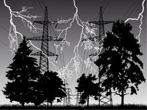 Lightnin and high-voltage line at night Stock Image