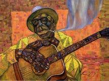 Lightnin` Hopkins,oil painting, artist Roman Nogin, series `Sounds of Jazz.` Royalty Free Stock Photography