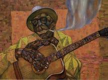 Lightnin` Hopkins,oil painting, artist Roman Nogin, series `Sounds of Jazz.` Stock Photos