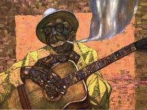 Lightnin` Hopkins,oil painting, artist Roman Nogin, series `Sounds of Jazz.` Royalty Free Stock Images