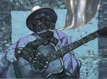 Lightnin` Hopkins,oil painting, artist Roman Nogin, series `Sounds of Jazz.` Royalty Free Stock Photo