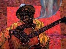 Lightnin` Hopkins,oil painting, artist Roman Nogin, series `Sounds of Jazz.` Stock Images