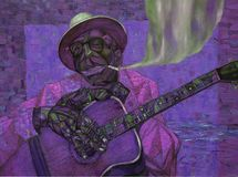 Lightnin` Hopkins,oil painting, artist Roman Nogin, series `Sounds of Jazz.` Stock Image