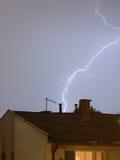 Lightning 1. Lightning over rooftops Stock Photos