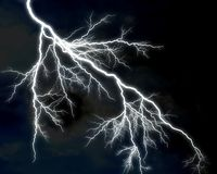 Lightning 1. Lightning bolts against dark background royalty free stock images