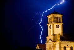 Lightning. Ower the church Royalty Free Stock Image