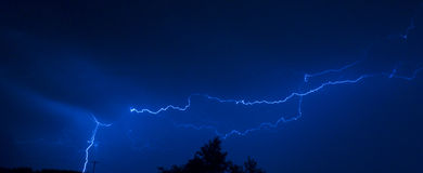 Lightning. Above trees Stock Photography