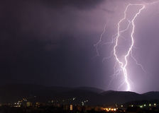 Lightning. In the night Stock Photo
