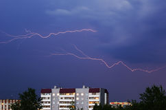 Lightning. Double lightning during a thunder-storm above city Royalty Free Stock Photography