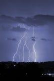 Lightning. Night storm with a lot of lightning Stock Photo
