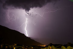 Lightning. Huge lightning bolt over hill Royalty Free Stock Image
