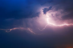 Lightning. In dark sky. Composition of nature Royalty Free Stock Images