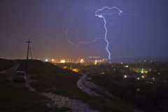 Lightning. In the dark sky Stock Photos