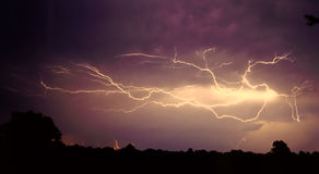 Lightning. Strikes on a dark stormy night royalty free stock images