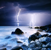 Lightning. Summer storm beginning with lightning stock photos