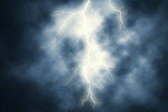 Lightning. Editable  illustration of a lightning bolt at night with background sky made using gradient meshes Stock Photo