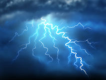 Lightning. Storm thunderstorm with a bolt of light electricity from a dark cloudy blue night sky showing power of natural destruction and dramatic weather storm stock illustration