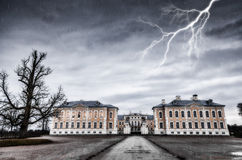 Lightning. Ancient residence and lightning Royalty Free Stock Photos