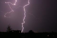 Lightning. At night above city Stock Photography