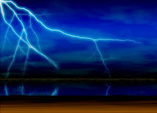Lightning. Computer generated digital art of a lightning in the lake with blue colour sky and clouds background Royalty Free Stock Photos