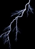 Lightning. Forked Lightning against a pitch black sky royalty free stock photography