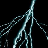 Lightning. Bolts of lightning isolated over a black background Stock Photography