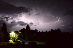 Lightning. During night thunderstorm. on city Royalty Free Stock Image