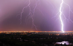 Lightning. Powerful lightening in the sky at city edmonton, alberta, canada Royalty Free Stock Images
