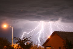 Lightning. Storm in the desert outskirts of phoenix, AZ royalty free stock photo
