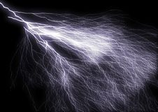 Lightning. Isolated on black lightning bolt Stock Photography