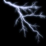 Lightning. Blue shining lightning on black Stock Photography