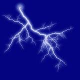 Lightning. Blue shining lightning on blue Stock Images