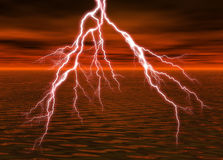 Lightning. A rendering of lightning over the water Stock Photo