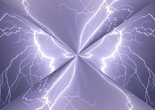 Lightning. Strike in nature scene at night Royalty Free Stock Images