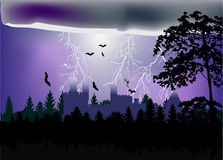 Lightning above castle in forest illustration Stock Photography
