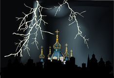 Lightning above church illustration Royalty Free Stock Image