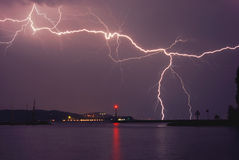 Lightning above the lake Royalty Free Stock Photos