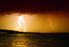 Lightning above the lake Royalty Free Stock Photo