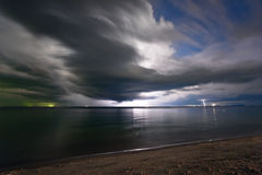 Lightning above the sea Stock Image