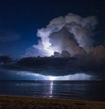 Lightning above the sea. Thailand. Lightning above the sea in tropical night at the beach.Thailand Royalty Free Stock Image