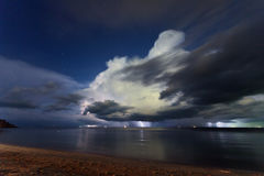 Lightning above the sea. Thailand Royalty Free Stock Images