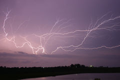 Lightning across the sky royalty free stock photo