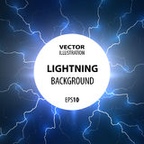 Lightning background. Flashes of lightning from the center of the circle. Royalty Free Stock Photography